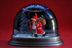 Darling Santa snowglobe!!! Bebe,'!!! Unusual dark blue background makes Santa's red suit pop!!!
