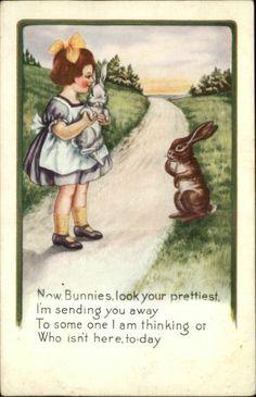 """EASTER Little Girl w Bunny Rabbits """"Bunnies look your prettiest"""" c1910 Postcard"""