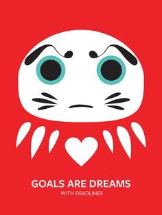 Japanese Wish Daruma Doll illustration & motivational quote print poster by PICA Things We Love