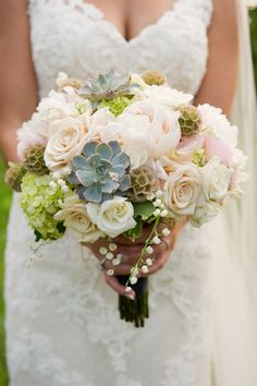 Perfection #succulents #roses #bouquet | New Hampshire Winery Wedding from Studio Nouveau  Read more - http://www.stylemepretty.com/massachusetts-weddings/2013/11/07/new-hampshire-winery-wedding-from-studio-nouveau/