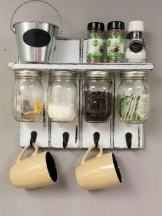 Mason Jar Organizer Kitchen Set With Shelf And por RecycledTrees