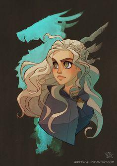 "Game of Thrones - Daenerys Targaryen ""Mother of Dragons"" by Kaisel on DeviantArt. Dessin Game Of Thrones, Arte Game Of Thrones, Character Concept, Character Art, Concept Art, Character Illustration, Illustration Art, Game Of Trone, Mother Of Dragons"