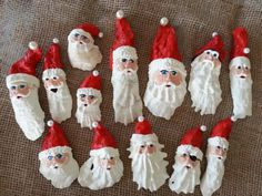 10 Beautiful Ways to Repurpose Oyster Shells Do-It-Yourself Ideas  Oyster shell Santa ornaments