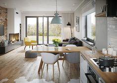 Projekt domu Murator C333j Miarodajny - wariant X 86,6 m2 - koszt budowy 174 tys. zł - EXTRADOM Home Decor Kitchen, Kitchen Living, Living Room, Dream Home Design, House Design, Salons Cosy, Small Apartments, Flat Design, Sweet Home