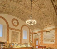 The ceiling of the Map Room Cafe built by Rafael Guastavino Sr. in the Boston