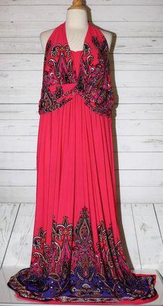 CATO WOMAN Sz 26W Pink Halter Paisley Print Halter Maxi Summer Dress Plus Size #Cato #Maxi