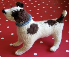 Jack Russell puppy, hand-knitted.  The pattern comes from a book called 'Best In Show' by Sally Muir and Joanna Osborne. It's full of the most lifelike miniature knitted dogs   .Knitting | from the sweet kitchen