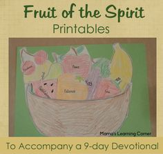 Fruit of the Spirit Printables to accompany a 9-day devotional written for children (free!)