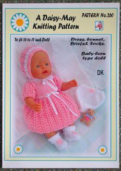 1 Dolls knitting pattern Babyborn type doll No. 260 by Daisy-May Baby Cardigan Knitting Pattern, Baby Knitting Patterns, Baby Patterns, Doll Clothes Patterns, Doll Patterns, Reborn Dolls, Baby Dolls, Baby Born Kleidung, Tiny Tears Doll