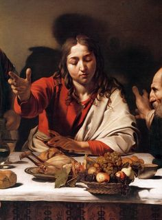 """Detail from Caravaggio's """"Supper at Emmaus"""", 1601-02."""