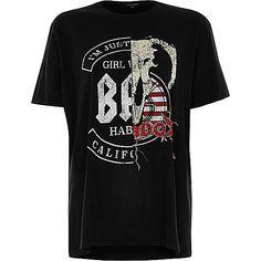 Black print slashed boyfriend T-shirt - print t-shirts / vests - t shirts / vests - tops - women