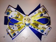 Yellow minion despicable me hair bow with alligator clip  on Etsy, $6.50
