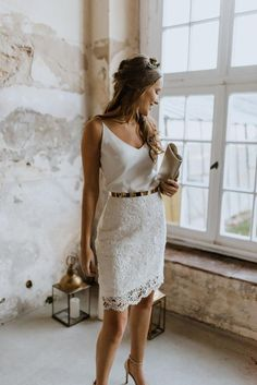 Tight Camisole Top Marnie Labude Bridal Couture - Wedding dresses for the authentic and modern bride Tee Dress, Belted Dress, Bridal Outfits, Bridal Dresses, Civil Wedding Dresses, Courthouse Wedding Dress, Gown Wedding, Couture Dresses, Lace Wedding