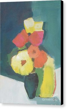 Abstract Flowers Painting Canvas Print featuring the painting Beauty In Vase by Vesna Antic
