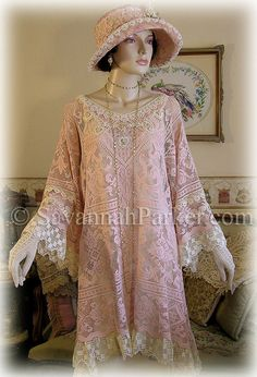 Antique Style Edwardian Downton Abbey Gatsby 20s pink vintage lace tunic by savannahparker on Etsy