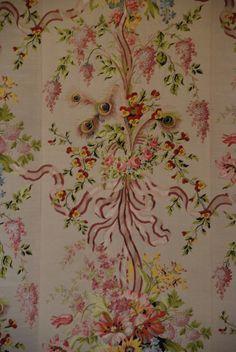 Marie Antoinette's wallpaper, Versailles Paris, France