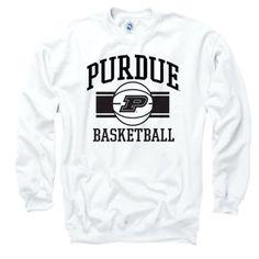 Purdue Boilermakers White Wide Stripe Basketball Crewneck Sweatshirt