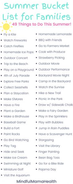 Ultimate Summer Bucket List for Families - Mindful Mama Health Summer Bucket, Summer Fun List, Summer Kids, Free Summer, Summer Activities For Kids, Fun Indoor Activities, Rainy Day Activities, Baby Activities, Paris Bucket List