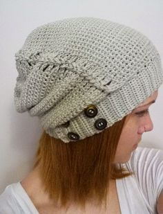 365 Crochet: Pin Laced Slouch Hat - free crochet pattern by Farrah. Dk yarn.