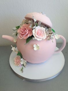 Teapot with Flowers Sculpted Cake for Wedding Bridal Shower