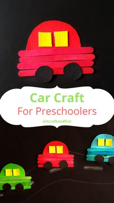 Recycled Crafts Kids, Paper Crafts For Kids, Craft Activities For Kids, Craft Stick Crafts, Preschool Activities, Car Crafts, Felt Crafts, Preschool Transportation Crafts, Transportation Activities