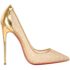 CHRISTIAN LOUBOUTIN 120mm Follies Fishnet Pumps - Gold (12 685 ZAR) ❤ liked on Polyvore featuring shoes, pumps, heels, sapatos, christian louboutin, gold, red pointed-toe pumps, red pumps, gold pumps and pointed-toe pumps