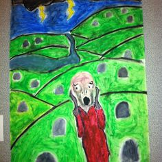 The Scream revisited. 6th gr. Work, in oil pastel.
