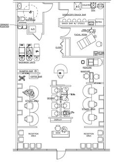 Beauty salon floor plan design layout 1400 square foot new salon pinterest facial room for Look 4 design salon