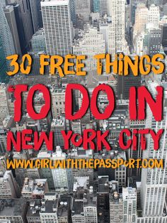 A list of 30 free things to do if you are on a budget and are visiting New York City, one of the most expensive cities in the world.