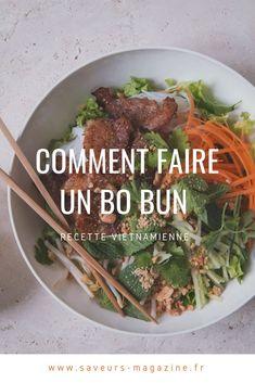 Bo bun: an easy recipe to get into Asian cuisine - CUISINE - Salad Recipes Healthy Easy Healthy Recipes, Meat Recipes, Easy Dinner Recipes, Asian Recipes, Chicken Recipes, Easy Meals, Cooking Recipes, Recipe Chicken, Asian Cooking