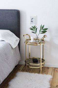 Scandinavian with a Touch of Glam Scandinavian Glam Bedroom / Minimalist Interior, Gold Side Table - Glam Bedroom, Stylish Bedroom, Home Decor Bedroom, Bedroom Kids, Interior Minimalista, Bedroom Minimalist, Minimalist Interior, Minimalist Apartment, Home Design