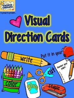 Tired of wasting time telling kids what to do next for the ump-teenth time? :) Want a simple way to make your teaching more efficient and effective?  Grab these visual direction cards!  Just print, cut out, and start using them today as visual cues to accompany directions you display for your students.