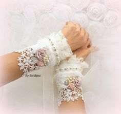 Bridal Cuffs, Lace Gloves, Fingerless Lace Cuffs in Ivory, Rose and Blush with Pearls, Crystals and Handmade Flowers