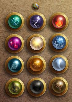 Elemental Orbs, by Pegahoul Elemental Powers, Elemental Magic, Magic Book, Magic Art, Fantasy Character Design, Character Art, Magia Elemental, Arte Dc Comics, Magic Symbols