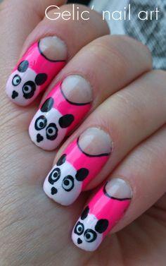 Gelic' nail art: Pink panda funky french nail art