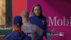 New party member! Tags: hug hugging rangers jonathan aj texas rangers griffin bro hug aj griffin pat on the back jonathan lucroy lucroy