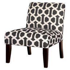 Avington Upholstered Slipper Chair - Charcoal/White Trellis