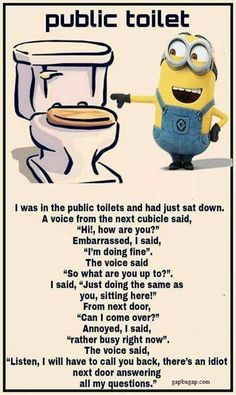#Funny #Minion #Joke About Public Toilets... - Funny, funny minion quotes, Joke, Minion, Minion Quote, Public, Toilets - Minion-Quotes.com