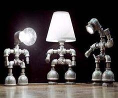 Pipe Lamps.  Cute idea for a boys room. http://plumbingplus.net/
