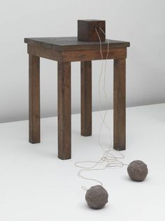 Joseph Beuys, Table with Accumulator, 1958/ 1985, Wood, accumulator, clay and wire, Overall display dimensions variable, The Tate Modern Museum, London