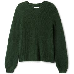 Jo Sweater found on Polyvore featuring tops, sweaters, shirts, loose sweater, loose fit tops, round neck sweater, loose fitting sweaters and green top