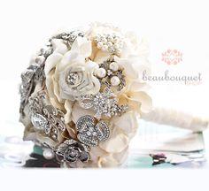 Brooch Bouquet Deposit MEDIUM Size Crystal Brooch Wedding Bouquet. $175.00, via Etsy.
