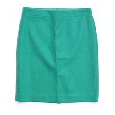J. Crew wool pencil skirt Wool/viscose blend in retro jade. Back zip.  Sits at waist. Lined.  From factory.  Excellent condition. J. Crew Skirts