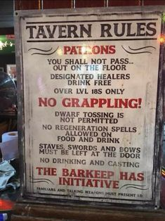 Tavern owners in DnD have to have some kind of rules in place.now it doesn't mention anything about Tavern Brawls 🤔 Larp, Pen & Paper, Nerd Room, Nerd Cave, Man Cave, Dnd Funny, Funny Shit, Funny Stuff, Hilarious