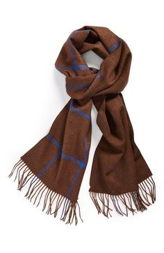 great combo of brown + blue // scarf