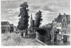 Antique print dam Edam North Holland 1887