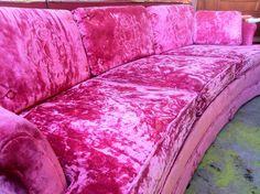 1960's Hot Pink Crushed Velvet Sofa.