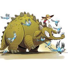 Budgie escort • #budgie #dinosaur #sketchbook #instaart #instamood #herewego #sketch #instadaily #doodle #journey #drawing #cartoon #art #instagood #photoshop #characterdesign #illustration