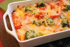 The Kitchen is My Playground: Bell Pepper & Broccoli Vegetable Lasagna (subbing fresh mozzerella for the shredded jack cheese) Vegetable Lasagna Recipes, Vegetarian Recipes, Healthy Recipes, Vegetable Entrees, Vegetable Lasagne, Veggie Dinners, Going Vegetarian, Vegetable Sides, Recipes
