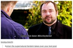 Supernatural taking over posts should officially be called being Winchester's! - Supernatural taking over posts should officially be called being Winchester's! Supernatural Fans, Castiel, Crowley, Supernatural Pictures, Chris Evans, Fangirl, Bae, Fandoms, Winchester Boys